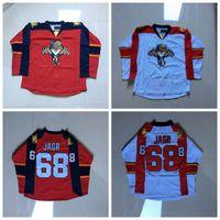 Adamın Ucuz Florida Panthers Formalar 68 Jaromir Jagr Jersey Dikişli Yüksek Kaliteli Hokey Jersey Kırmızı ve Beyaz Boş