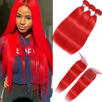 Красный Связки С Закрытие Pre Цветные Straight Связки С Закрытие бразильского человеческих волос Weave Связки С Закрытие Remy