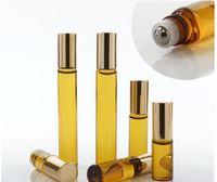 3ml 5ml de 10ml mini rouleau sur la bouteille de verre parfum parfum ambre brun en verre bouteilles d'huile essentielle bouteille d'huile en acier métal rouleau B813