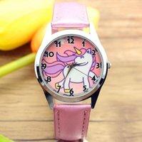 Cadeau de Noël Rose Big Licorne Girl Garçon Enfants Montre Sports Jelly En Cuir Bracelet Clock Horloge Hot Cartoon New Mode Kids Montre-Bracelet