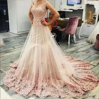 2019 nueva moda elegante vestidos de noche sin mangas de encaje rosa apliques vestidos de baile Tulle Sweep tren vestidos de fiesta cóctel envío gratis
