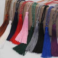 여성 도매에 대한 골치 아픈 개의 Tassels 목걸이 스웨터 체인 긴 크리스탈 말라 구슬 명상 목걸이 패션 쥬얼리