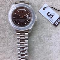 Presidente pulsera número romano para hombre Relojes Fecha 40MM luminoso Negro esfera del reloj resistente a los arañazos de cristal de zafiro relojes automáticos