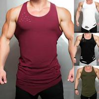 Mens Stringer Plain fitness maglietta casual estate di ginnastica della maglia Sport Bodybuilding muscolare
