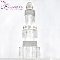 Акриловые Cupcake Башня Стенд 3 Tier Круглый с платяной Кристалл бисера Люстра Стенд торт свадебный торт партия Дисплей Tower