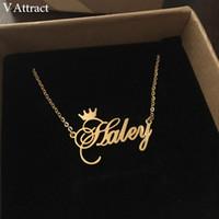 V Atraer a los Mejores Amigos de Regalo Nombre Personalizado Collar BFF Joyería Personalizada Cursivo Corona Gargantilla Femme Rose Gold Collier