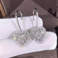 بيع الإضافية الساخن بلينغ متألقة مجوهرات فاخرة 925 فضة كاملة الأبيض الياقوت CZ الماس الأحجار الكريمة حبيبة القلب هوك تعلق القرط