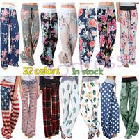 Las mujeres pierna ancha pantalones de yoga fitness Pantalones pantalones Señora Moda suelta Harem largo de Boho floral Capris Pantalones deportivos caseros ropa de talla grande