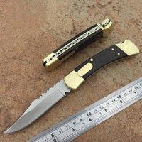 Alta fine 110 Pocket Knife Pieghevole Pieghevole Ottone singola Azione + Manico in legno Torna posteriore Tactical Tactical Tactical Killoves Coltelli da caccia