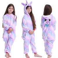 4 Renkler Flanel Karikatür Elbiseler çocuklar Gecelikler çocuk pijama giyim M2053 romper Tulum Gökkuşağı Hoodies pijamalar