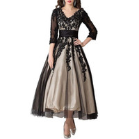 Элегантная кружевная аппликация Чай-длина Мать невесты платья 2019 Три четверти рукава выпускных платьев Tulle вечернее платье плюс размер