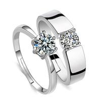 Cubic Zirconia Solitaire Anel Aberto Ajustável Diamante Noivado Casamento Prata Casal Mulheres Homens Anéis de Moda Moda Jóias Vontade e Sandy