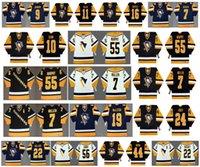 Vintage Pittsburgh Penguins Jerseys 16 Jay Caufield 7 Rod Buskas 22 Mike Bullard 44 Rob Brown 56 Sergei Zubov 22 RICK Tocchet hóquei feito sob encomenda
