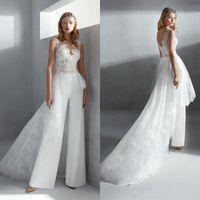 2020 Elegante overskirts Jumpsuits A Line Brautkleider Sheer Juwel-Ansatz-Spitze Bohemian Strand Brautkleider Boho Brautkleider Hosen