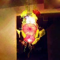 مصابيح قلادة ملونة مزينة الزجاج الثريا الإضاءة أدى سلاسل زهرة الفن قلادة الخفيفة ce ul lobby الثريات الكريستال الحديثة