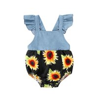 의류 세트 Pudcoco 유아 아기 소녀 Bodysuits 해바라기 인쇄 패치 워크 블루 점프 수트 0-24M 여름 귀여운 프릴 꽃 데님 복장