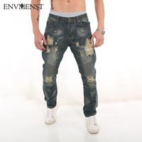 Envmenst denim salopette vêtements griffés rockstar cheville fermeture éclair jeans déchirés maigre pour les hommes détruits