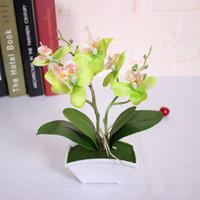 Künstliche Blumen Real Touch Latex 2 Zweig Schmetterling Orchideen-Blumen mit Blättern Hochzeit Dekoration Simulation Blätter Pflanzen