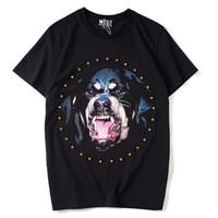 Camisetas para hombre Camisetas de diseñador para hombre Camisetas de moda casual de manga corta con cuello redondo de algodón suelto Rhinestone Cabeza de perro Rottweiler impresión