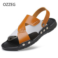 Man Fashion Sandals Summer Men' s Slippers Leather Shoes...