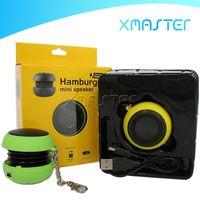 hifi bas mini högtalare mp3 musik 3 5mm Wired högtalare spelare utomhus bärbar hamburger design högtalare med detaljhandel förpackning xmaster