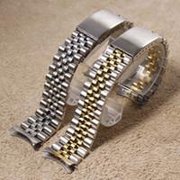 Argent en or jaune Montre en acier inoxydable bande Bracelets fin courbé Bracelet Pour Montre Rolex 13mm 17mm 20mm