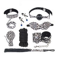 Leopard Bondage Gear Pack 8 Pcs Faux Leather Hand Cuffs Blind Fold Whip Nipple Clamp Collar with Leash Paddle Cotton Rope Ball Gag