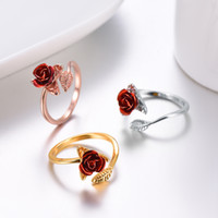 YOYO Hot sale Red Rose Flower Leaves Resizable Finger Ring f...