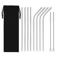 10pcs set Reusable Stainless Steel Straws Set Bent and Strai...