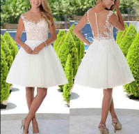 Elegant Knee- Length sheer illusion short Wedding Dresses Cap...