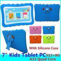 أطفال الكمبيوتر اللوحي 7 بوصة شاشة الروبوت 4.4 ALLWINNER A33 رباعية النواة 512MB RAM 8GB ROM كاميرا مزدوجة WIFI الأطفال اللوحي