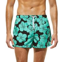 Мужчины дышащий плавать брюки купальники шорты тонкий носить трусы цветок печати Зеленый пляж шорты размер S-XL