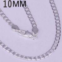 10MM 1: 1 Сторона ожерелье тела нового прибытия Лучшие качества Мода Женщины Мужчины ювелирные изделия стерлингового серебра 925 10мм 16-24inch ожерелье