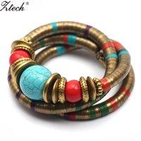 Ztech Fashions Décoration Vintage pour Femmes Filles Bracelets Tibétains Bangles Inlay Roundness Perle Ajuster le bracelet en gros