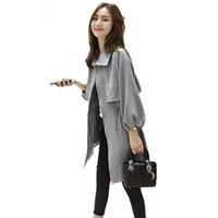 여성 재킷 봄 가을 2021 패션 여성 느슨한 캐주얼 트렌치 코트 숙녀 우아한 야생 격자 무늬 윈드 재킷 Outwear D27