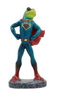 Yaratıcı Kurbağa Heykeller, Süpermen Elbise Yenilikçi Akıllı Masaüstü Dekorasyon, Yatak Odası, Oturma Odası ve Ofis dekor içinde Kurbağa