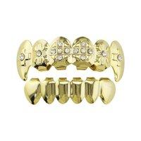 Hip hop plata dorada grillz diamantes de colores de dientes de tigre parrillas dentales chapada lisa joyería raperos cuerpo dientes de vampiro oro verdadero
