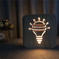 Lampadina di legno creativa Lampadina notturna Lampada da tavolo Lampada da tavolo ha scavato lampada da comodino calda bianca in legno massello bianco intaglio 3D lampada notturna