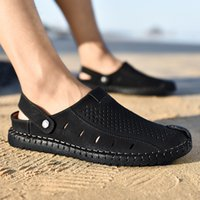 Nero Sandali Uomo Estate zoccoli Plus Size 45-46 Slip-On per cucire in microfibra sandali della spiaggia maschio robusto Sole Walking Shoes For Men