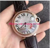 럭셔리 크리스마스 선물 새로운 18k 로즈 골드 36mm WGBB0009 자동 블랙 Leathe 팔찌 남자 스포츠 패션 남자 시계
