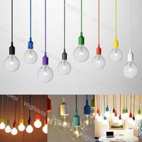 Lâmpadas pendentes 110V 220V E27 portador moderno silicone colorido 1m fio para o estudo de jantar interior decoração sala de estar DHL