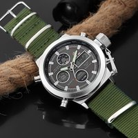 GOLDENHOUR Top Outdoor Sport Watch Men Army Canvas Watches A...