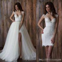 Vintage dentelle détachable robe de mariée Jupe longue sexy dos nu Haut Bas Robe de mariée Amovible train nuptiale robe de mariée Robes de mariée