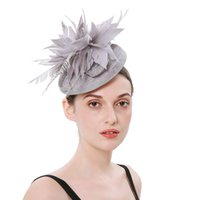 New Ladies Feather Mesh Banquet Small Top Hat Party Hair Acc...