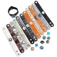 Noosa Snap cuero de la pulsera hecha a mano ancho de banda de cuero Snap Button joyería de la pulsera de los brazaletes Fit 18MM Snap