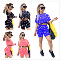 Champion Women Two Piece Shorts Tracksuit Full Letters Print...