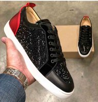Top di lusso Rantulow Nero Strass Vitello Fondo rosso Junior Sneakers Scarpe Low Top Uomo Marca Casual Outdoor Sport da donna EU47