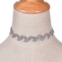 Moda Marka Pençe Kristal Yaprak Chokers Bildirimi Kolye Kadınlar Rhinestone Chunky Kolye Yakalar Vintage Düğün takı Bijoux 2017