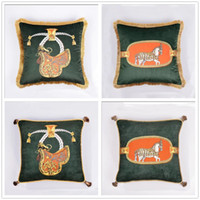 Cavalo Padrão Retro Pillow Covers High-end pendant borla Almofadas Aulic sofa Throw Pillow Caso inicial E Pillow Car Covers Tamanho 45 * 45 centímetros