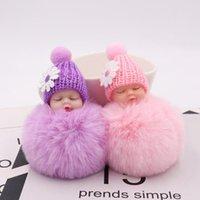 10pcs / Lot Mädchen Schlüsselanhänger Mode Schmuck Schlüsselanhänger Schlafen Babys mit Gänseblümchen-Puppen-Anhänger-Verzierung Schlüsselring für Frauen Taschen Dekoration